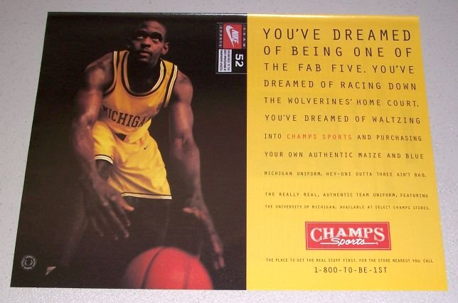 1995 Champs Sports Uniforms Color Print Ad Basketball Celebrity Chris Webber