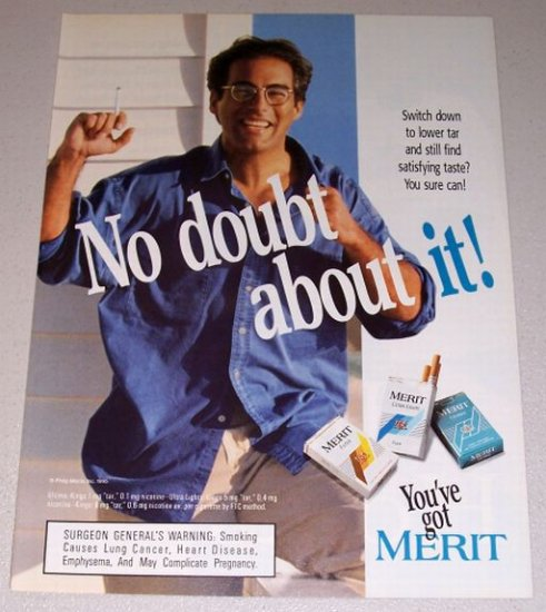 1995 Merit Cigarettes Color Print Tobacco Ad