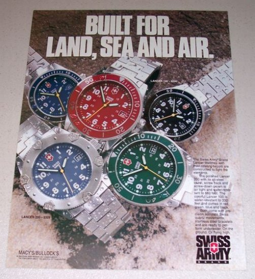 1995 Swiss Army Brand Lancer Watches Color Print Ad