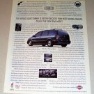1995 Nissan Quest Mini Van Color Print Car Ad