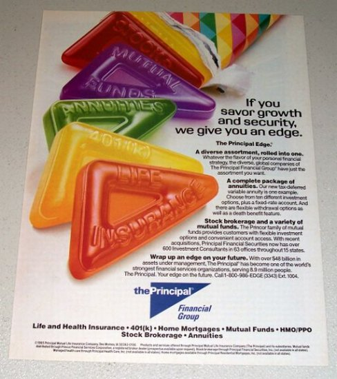 1995 The Principal Financial Group Candy Roll Color Print Ad