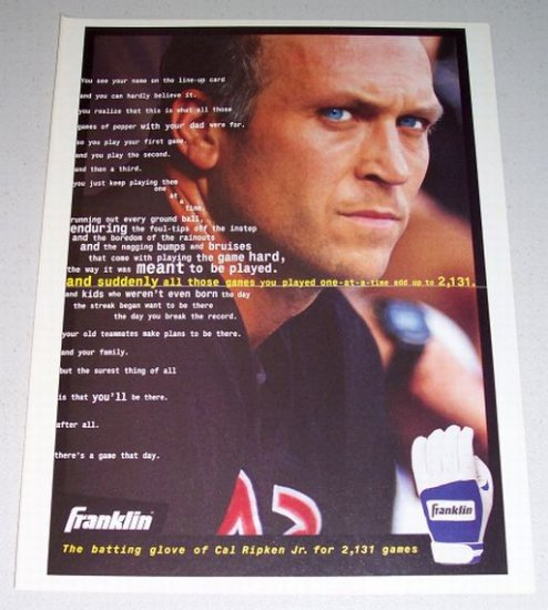 1995 FRANKLIN Batting Gloves Color Print Ad Orioles MLB Baseball Celebrity Cal Ripkin