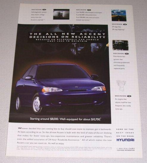 1995 Hyundai Accent Automobile Color Print Car Ad
