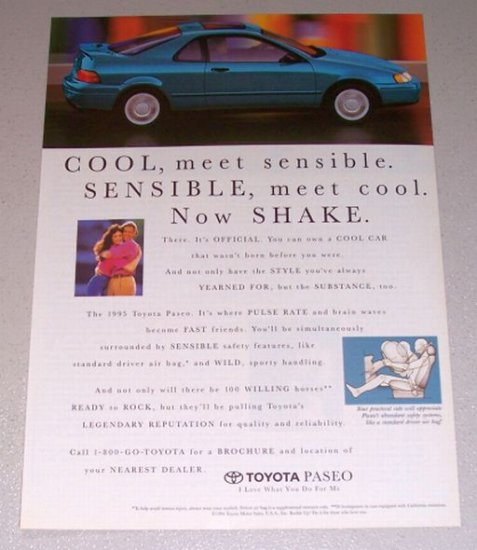 1995 Toyota Paseo Automobile Color Print Car Ad
