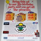 1995 Days Inn Color Print Ad Celebrity Weatherman Willard Scott