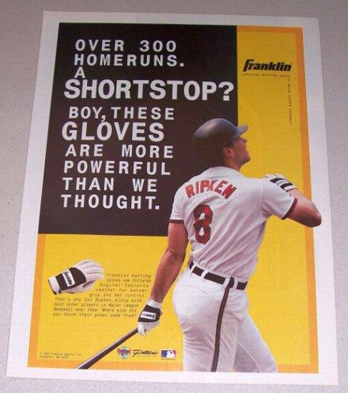 1995 Color Print Ad FRANKLIN Batting Gloves Orioles MLB Baseball Celebrity Cal Ripkin