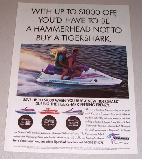 1995 Tigershark Montego Jet Ski Color Print Watercraft Ad