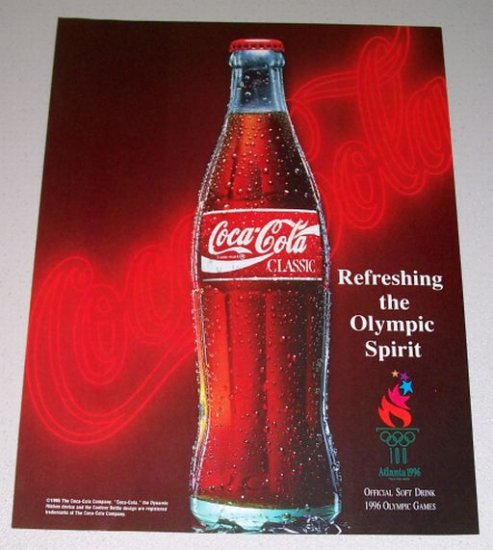 1995 Coca Cola Coke Soda Color Print Beverage Ad - Refreshing the Olympic Spirit