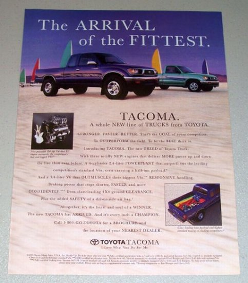 1995 Toyota Tacoma Pickup Color Print Truck Ad