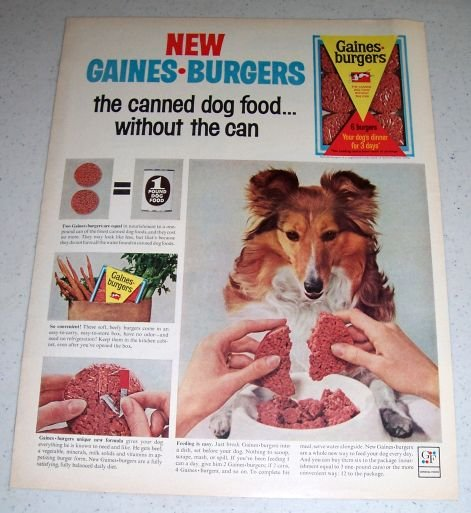 1964 GF Gaines Burgers Dog Food Color Ad