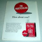 1964 Pall Mall Tobacco Cigarettes Color Ad