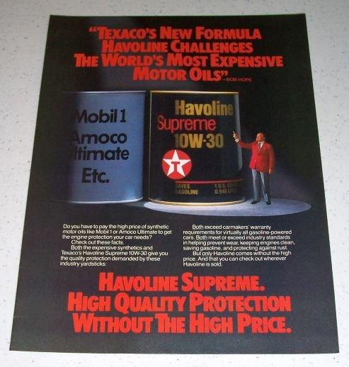 1985 Texaco Havoline Supreme Motor Oil Color Ad Celebrity Bob Hope
