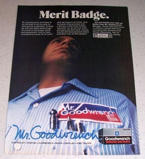 1986 Mr Goodwrench Genuine GM Parts Color Ad - Merit Badge
