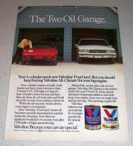 1986 Valvoline FourGard Motor Oil Color Ad