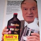 1986 Texaco Havoline Motor Oil Color Ad Celebrity Bob Hope