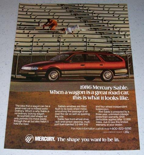 1986 Mercury Sable Wagon Automobile Color Car Ad