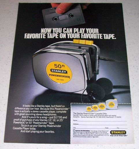 1986 Stanley 50ft Powerwinder 34-150 Tape Measure Color Ad