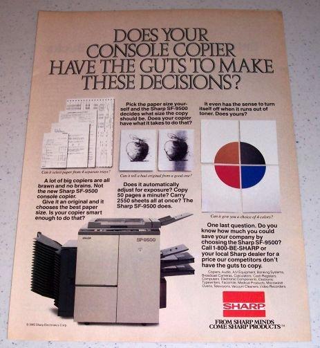 1985 Sharp SF-9500 Console Copier Color Ad