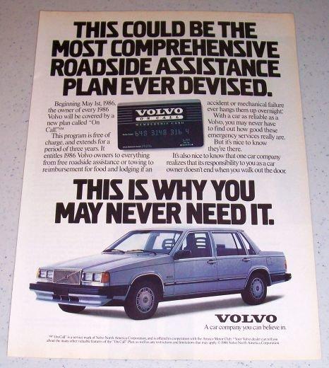 1986 Volvo Automobile Color Car Ad