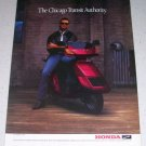 1986 Honda Elite Deluxe Scooter Color Ad NFL Chicago Bears Football Celebrity Jim McMahon