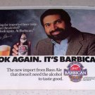 1986 Bass Barbican Beer Color Ad NFL Football Celebrity Franco Harris