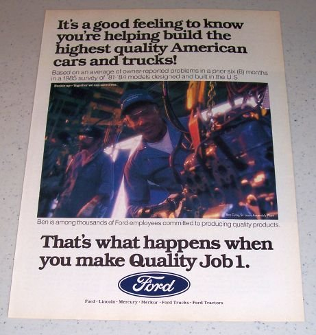 1986 Ford Quality Job 1 Color Ad Ben Gray St Louis Assembly Plant