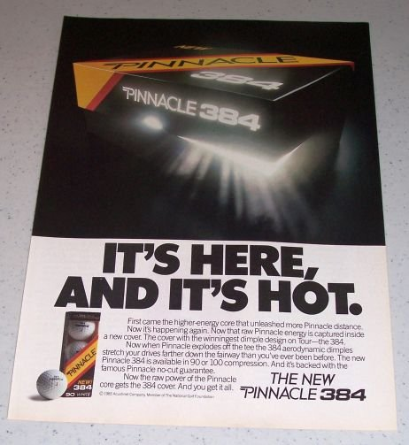1986 Pinnacle 384 Golf Balls Color Ad
