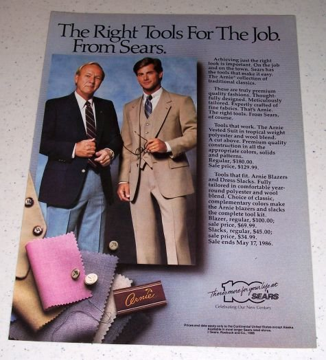 1986 Sears Arnie Collection Clothing Color Ad PGA Golf Celebrity Arnold Palmer