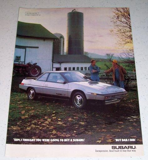 1986 Subaru Turbo XT Automobile Farming Themed Color Car Ad