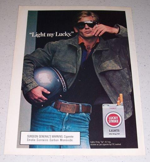 1986 Lucky Strike Lights Cigarettes Color Tobacco Ad