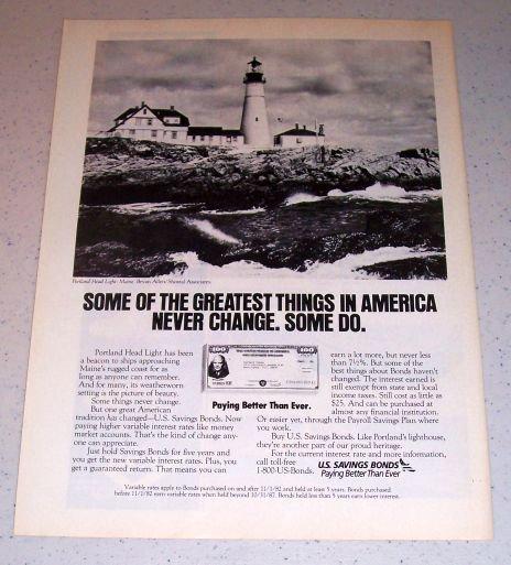 1986 U.S. Savings Bonds Portland Head Light Maine Color Ad