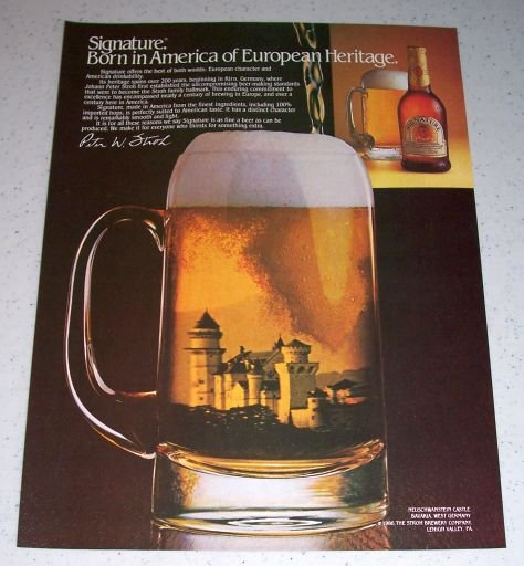 1986 Stroh Signature Beer Color Ad Neuschwanstein Castle Bavaria West Germany