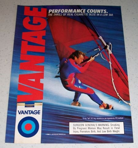 1986 Vantage Cigarettes Watersports Color Tobacco Ad