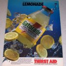 1986 Gatorade Lemonade Flavor Drink Color Ad