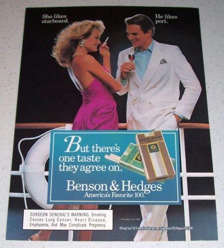 1986 Benson Hedges 100's Lights Cigarettes Color Tobacco Ad