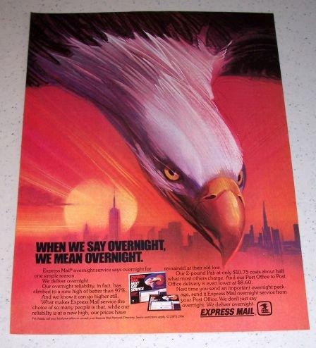 1986 USPS United States Postal Service Express Mail Eagle Art Color Ad