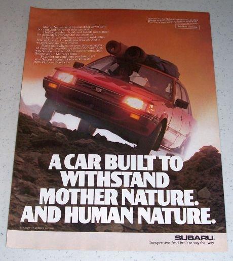 1985 Subaru Automobile Color Car Ad