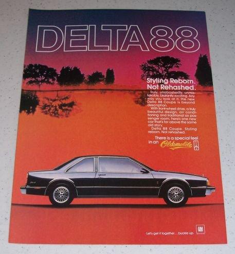 1986 Oldsmobile Delta 88 Coupe Automobile Color Car Ad