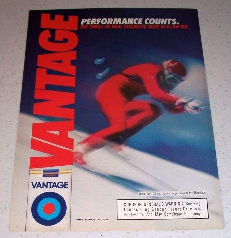 1986 Vantage Cigarettes Snow Skiing Color Tobacco Ad