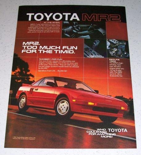 1986 Toyota MR2 Automobile Color Car Ad