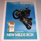 1986 Kool Milds Cigarettes Motorcycle Jump Color Tobacco Ad