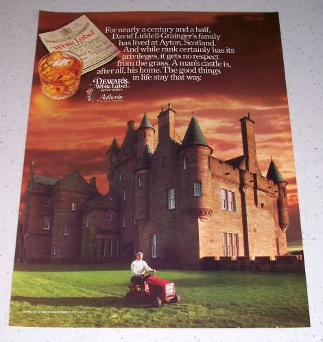 1986 Dewar's White Label Scotch Whiskey Color Liquor Ad Ayton Scotland Castle