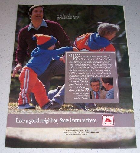 1986 State Farm Insurance Color Ad NFL Denver Broncos Football Celebrity Bobby Burnett
