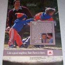 1986 State Farm Insurance Color Ad NFL Denver Broncos Football Celebrity Bobby Burnett
