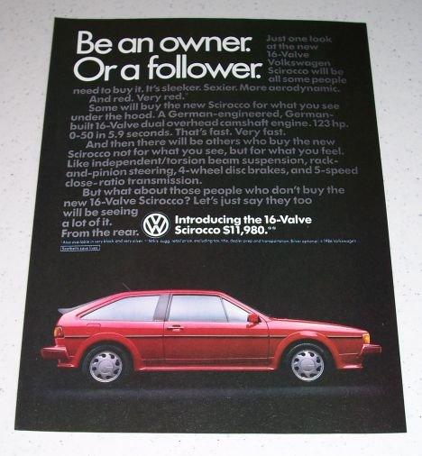 1986 VW Volkswagen Scirocco Automobile Color Car Ad
