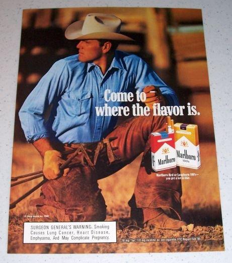 1986 Marlboro Cigarettes Cowboy Branding Color Tobacco Ad