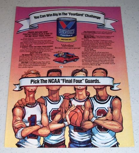 1986 Valvoline FourGard Motor Oil 1987 NCAA Basketball Art Color Ad