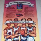 1986 Valvoline FourGard Motor Oil 1987 NCAA Basketball Art Color Ad