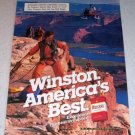 1985 Winston Cigarettes Helicopter Canyon Repelling Color Tobacco Ad