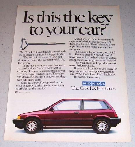 1986 Honda Civic DX Hatchback Automobile Color Car Ad